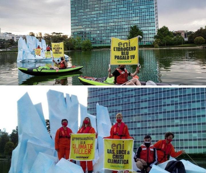 Protesta pacifica di Greenpeace su un iceberg simbolico al quartier generale dell'Eni (Foto di Greenpeace)